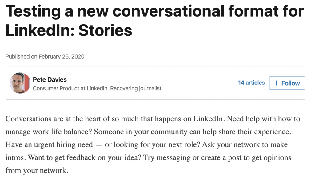 linkedin article snapshot