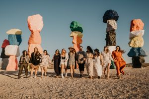 girls walking together by colorful rocks in las vegas